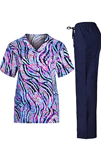 Print Medical Scrub - MedPro Women's Medical Scrub Set with Printed Wrap Top and Cargo Pants  Navy Blue L