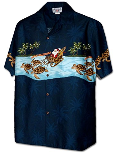 Turtle Sleigh Santa Men's Christmas Shirt 3918-NAVY-L ()