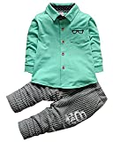 Baby Boys Long Sleeve Dress Shirt Top Pants Clothes Outfits Set(Green,2-3 years)