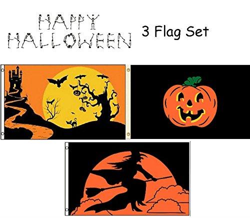 MWS 3x5 Happy Halloween 3 Flag Wholesale Set