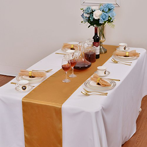 LOVWY Pack Of 5 Satin Table Runner 12 x 108 Inch For Wedding Party Engagement Event Birthday Graduation Banquet Decoration (Colors Optional) (Party Stuff)
