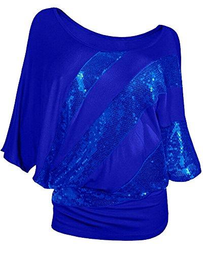 Mare Moollyfox Blu a Shirt Girocollo Manica Donne T Delle Pipistrello Casuali Paillettes w6SRq