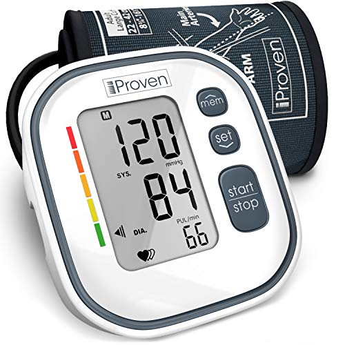 """iProven Digital Blood Pressure Monitor – Upper Arm Blood Pressure Machine for Home Use – with Irregular Heartbeat Detection – Save Up to 60 Readings – Cuff (8¾""""-12½""""), Batteries and Manual Included"""