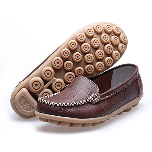 Damesschoenen Loafers Leren Oxford Slip Op Casual Walking Flats Bootschoenen Koffie