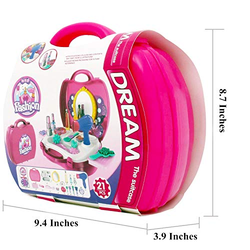 Ange-la Makeup for Girls – Pretend Play & Dress-up Make up Toy Kit Best Gift Set for Little Girls & Kids Include 21 Pieces Beauty Salon Toys W/ Make-up Box