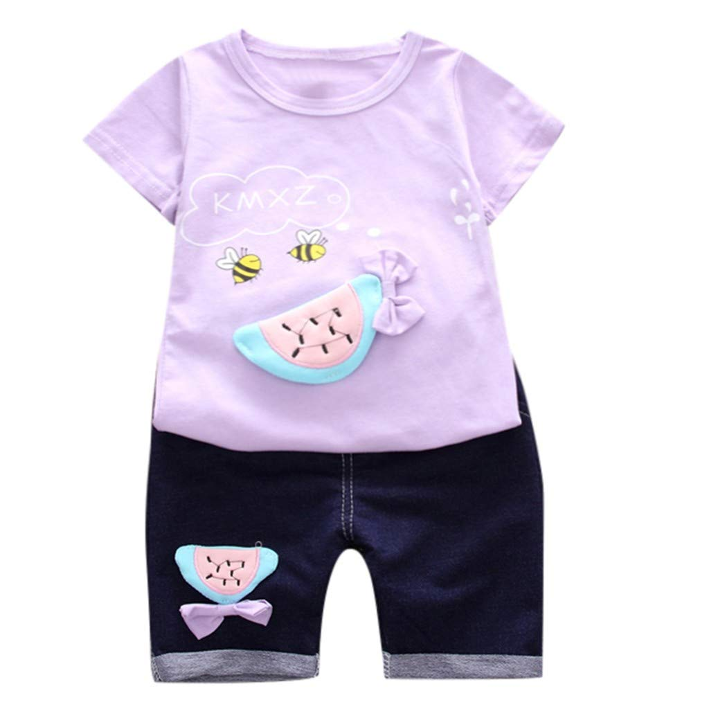 Lavany Little Girls Clothes Set 2pc Short Sleeve Print Tops+Shorts Casual Outfits Purple