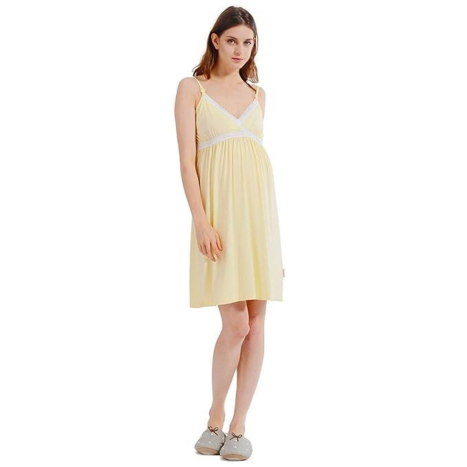 i-baby Camisón Lactancia Ropa de Premama Maternidad Vestido Pijamas Mujer Embarazada Amamantando Verano 2 en 1 (Amarillo Claro, M): Amazon.es: Ropa y ...