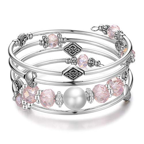 (Wrap Bangle Layered Crystal Bracelet - Fashion Jewelry Bead Bracelet Gifts for Women Girls (07-Pink))