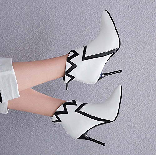 Autumn 2018 Winter Boots Super Boots High Personality White Pointed Heel Women Ankle QINGMM XIfRqTnX