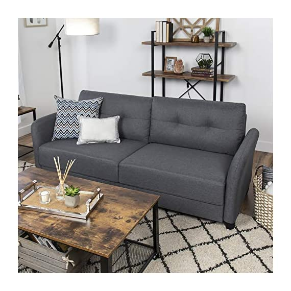 Best Choice Products 76 inch Linen Fabric Upholstered Contemporary Sofa Couch Lounger, Dark Gray - CLASSIC STYLE: This sofa's simple design makes it ideal for any living space, with an adaptable appearance that blends well in a variety of stylish home setups COMFORTABLE DESIGN: Soft cushioned seats and a tufted backrest provide optimal comfort for you and guests as you lounge over drinks and good conversation GREAT FOR COMPACT SPACES: Made to fit seamlessly in your living room, bonus room, dorm, and more, this sofa doesn't carry excess bulk that takes up too much space - sofas-couches, living-room-furniture, living-room - 51WRW7GG8RL. SS570  -