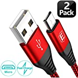 Micro USB Cable Android, Eakase(2-Pack 6.6FT) Micro USB to USB A High Speed Sync Charger Nylon Braided Cord Compatible with Samsung Galaxy S6 S7 J7 Note 5,Kindle,LG,Xbox,PS4,Camera,Smartphones(Red)