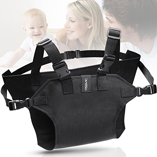 YISSVIC Portable Baby Feeding Chair Belt Toddler Safety Seat with Straps Child Chair Soft Belt Outdoor Portable Travel High Chair Booster Baby Seat Belt[2018 Updated]Black by YISSVIC (Image #3)