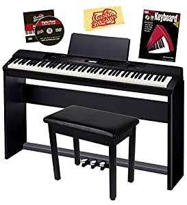 Casio Privia PX-350 Digital Piano Bundle with Casio CS-67 Stand, SP-33 Pedal, Bench, Instructional Book, Austin Bazaar Instructional DVD, and Polishing Cloth - Black
