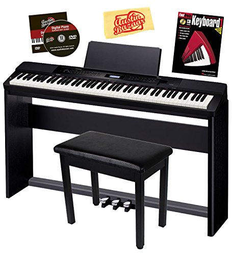 Casio Privia PX-350 Digital Piano – Black Bundle with CS-67 Stand, SP-33 Pedal, Furniture Bench, Instructional Book, Austin Bazaar Instructional DVD, and Polishing Cloth