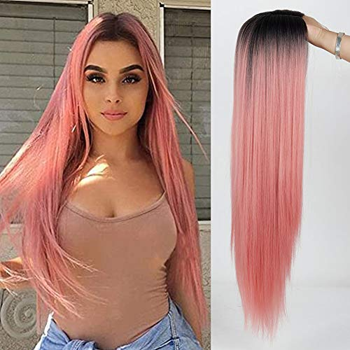 MISSWIG. Middle Part Pink and Black Ombre Wig Synthetic,Long Pink Ombre Wigs for Women,Long Straight Wigs for Women Pink…
