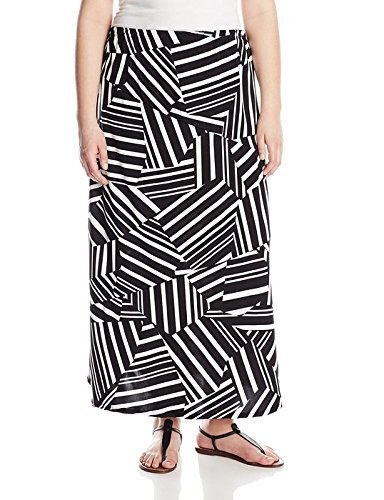 Notations Women's Plus-Size Printed Maxi Skirt, Black Boundary, 1X
