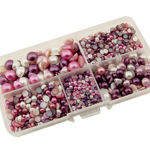 Summer-Ray 3mm to 10mm Lavender, Purple, Violet & White Flat Back Pearl Collection In Storage Box