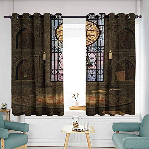 AndyTours Sliding Door Curtains,Gothic Lectern on Pentagram Symbol Medieval Architecture Candlelight in Dark Altar,Blackout Draperies for Bedroom,W55x63L,Olive Green Mustard
