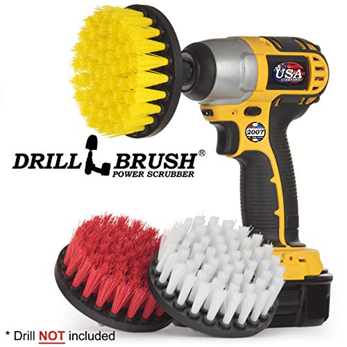 Cleaning Supplies – Drill Brush – Soft, Medium, Stiff Scrub Brush Variety Kit – Leather – Mirror – Glass Cleaner…