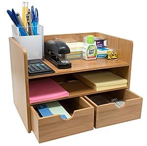 Amazon Com Sorbus 3 Tier Bamboo Shelf Organizer For Desk