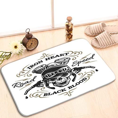YGUII Funny Doormat Washable Floor Entrance Outdoor Indoor Rug Doormat Non-Woven Fabric 48(L) x 16(W) InchBiker Skull Prints Emblems