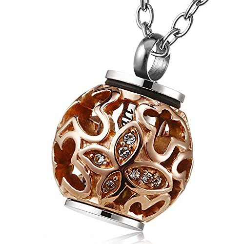 Cremation Jewelry for Ashes Rose Gold Always in My Heart Memorial Urn Necklace Ash Locket Pendant ()
