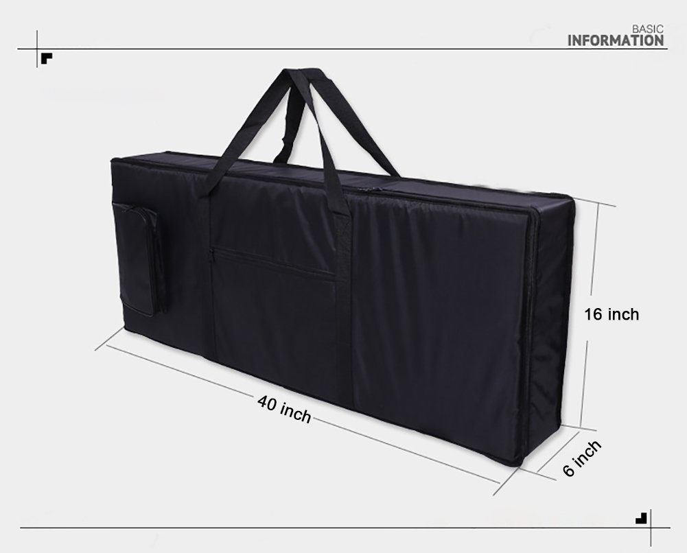 Hersent 61 Note Electric Piano Keyboard Bag with Portable Handle Shoulder Straps 420D Oxford 4mm Padding Case Gig Bag Best Gift for Music Students or Instrument Enthusiast HJT07-US by Hersent (Image #2)