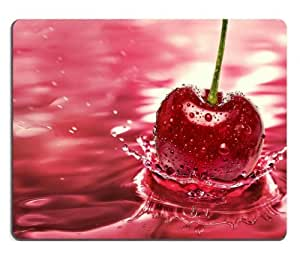 Fruits Food Cherries Splashes Cerise Mouse Pads Customized Made to Order Support Ready 9 7/8 Inch (250mm) X 7 7/8 Inch (200mm) X 1/16 Inch (2mm) High Quality Eco Friendly Cloth with Neoprene Rubber MSD Mouse Pad Desktop Mousepad Laptop Mousepads Comfortable Computer Mouse Mat Cute Gaming Mouse pad