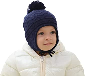 Wincret Boys Girls Fleece Lined Knit Kids Hat Warm Ski Winter Caps with Earflap