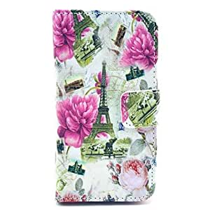 GDW Blooming Peony and Eiffel Tower Pattern PU Leather Full Body case for iPhone 4/4S