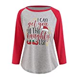 Best Hollywood Star Fashion Baseball Tees - haoricu Womens Christmas Shirts Long Sleeve Letter Print Review