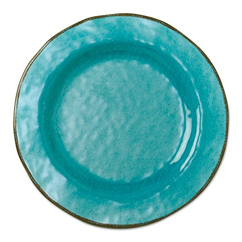 (tag - Veranda Melamine Salad Plate, Durable, BPA-Free and Great for Outdoor or Casual Meals, Ocean Blue (Set Of 4))