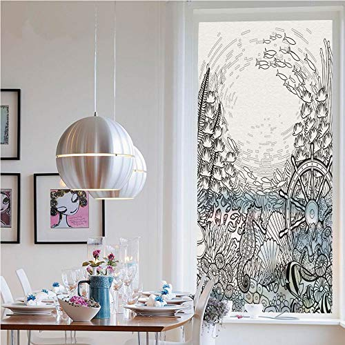 (Window Decal Vinyl Glass Cling,Graphic Coral Reef with Sea Horse Ocean Fish and Sunken Ship Line Art Drawing Decorative(19.7