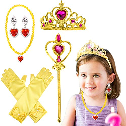 Princess Dress Up Party Costume Accessories 5 Pieces Set For Princess Belle cosplay: Tiara, Wand and - http://coolthings.us