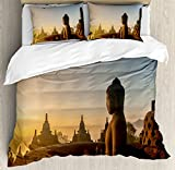 Asian Decor Duvet Cover Set by Ambesonne, Religious Temple in Indian Sunrise Ancient Architecture Mystic Style Ceremony Picture Wall Art, 3 Piece Bedding Set with Pillow Shams, King Size, Multi