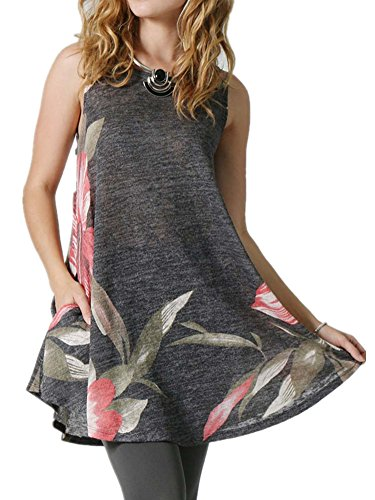 Poulax Womens Floral Sleeveless Lightweight Loose Tunic Tank Top with Pockets