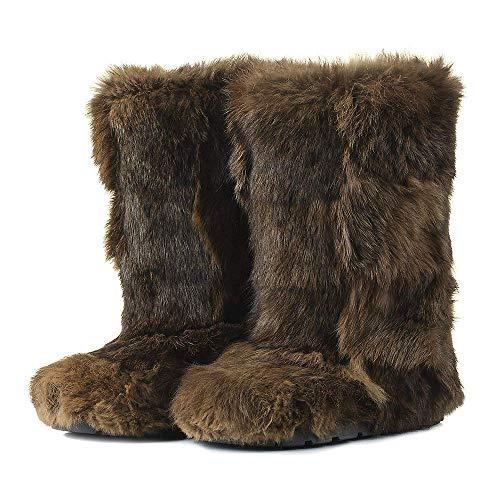 Brown Rabbit Boots for Women, Mukluk Boots, Yeti Boots, Color Rabbit Fur Boots, Long Boots, Winter Boots, Girlfriend Gift, LITVIN (Rabbit Fur Mukluk)