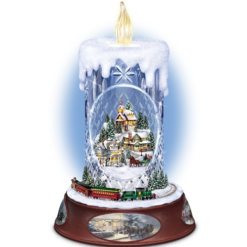 Thomas Kinkade Musical Tabletop Centerpiece Crystal Candle: Making Spirits Bright by The Bradford Exchange ()