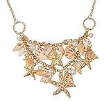 Fashewelry Sea Shell Bib Beach Necklaces Starfish Pearl Statement Chunky Necklace Pendant
