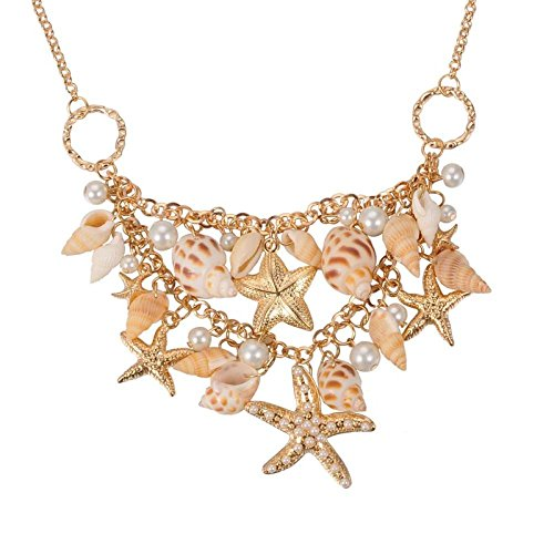 Fashewelry Sea Shell Bib Beach Necklaces Starfish Pearl Statement Chunky Necklace Pendant from Fashewelry