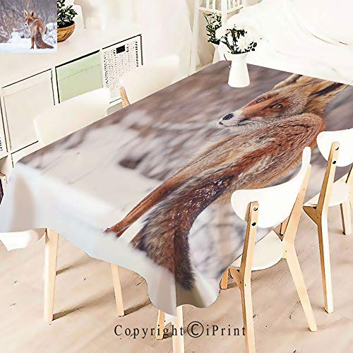 (Premium Polyester Printed Tablecloth,Landscape Furry Wild Animal Hunting Vulpine, Idle for Grand Events and Regular Home Use, Machine Washable,W55 xL55,Redwood Brown)