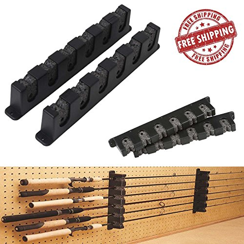 Horizontal Rod Rack 6 Berkley Fishing Holder Storage Pole Holder Gear Stand Wall ()