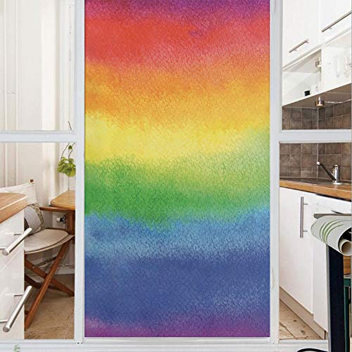 Decorative Window Film,No Glue Frosted Privacy Film,Stained Glass Door Film,Work of Art with Vivid Colors with Rainbow Tones Abstract Lines Painted with Brush,for Home & Office,23.6In. by 59In Multico