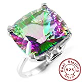 AYT 10ct Square Natural Fire Rainbow Mystic Topaz Ring Solid 925 Sterling Silver Jewelry Brand New Hot Gift For Women High Quality 7.0