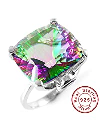 AYT 10ct Square Natural Fire Rainbow Mystic Topaz Ring Solid 925 Sterling Silver Jewelry Brand New Hot Gift For Women High Quality