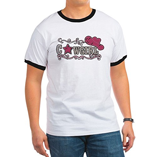 Royal Lion Ringer T-Shirt Cowgirl Country Western Hat and Star - Black/White, Small (Cowgirl Ringer T-shirt)