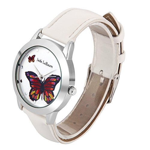 Amazon.com: Jade LeBaum Ladies Butterfly Watch White Leather Band Silver Case Relogio Feminino JB202813G: Watches