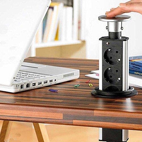 3 Fach versenkbare Steckdosenleiste Steckdose Tischsteckdose + USB Ladegerät