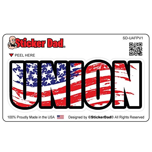 UNION American Flag Pride V1 Full Color Printed Sticker (3 PACK) by StickerDad - (size: 4