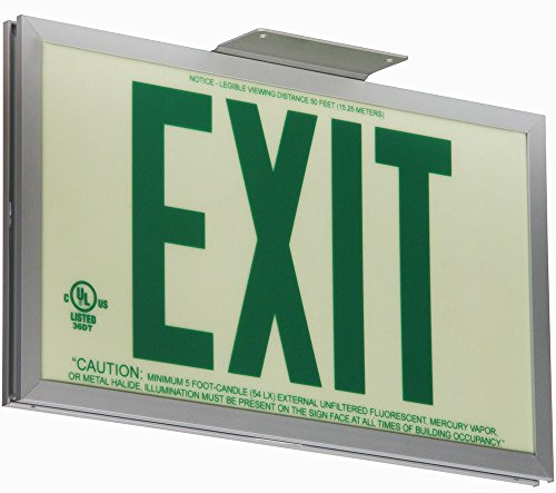 Ul924 Exit Signs (Jessup Glo Brite 7220-SAF-B P50 Non Electrical, Glow-in-the-dark (Photoluminescent) Screen-Printed Eco Exit Sign with, Single-Sided Aluminum Frame and Bracket, 7.5